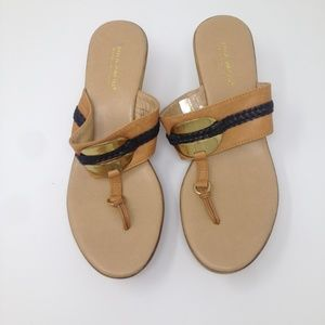 Mila Paoli Tan Wedge Italy Size 7 Sandal